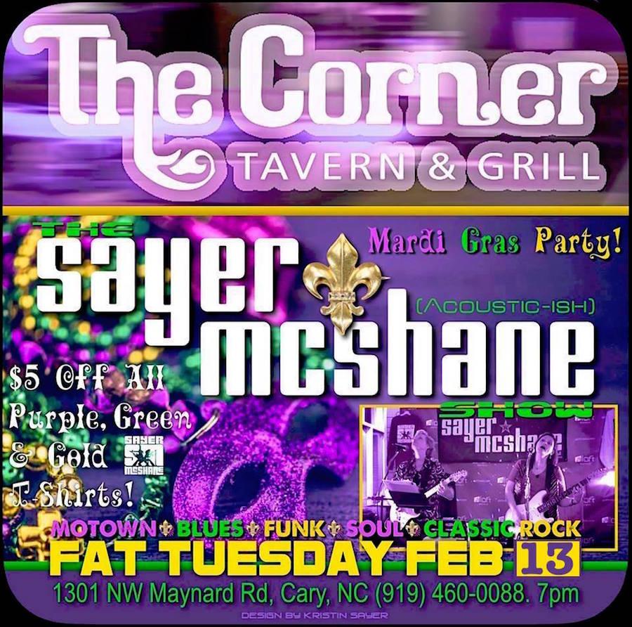Sayer McShane at Corner Tavern Mardi Gras Party! - Cary, NC