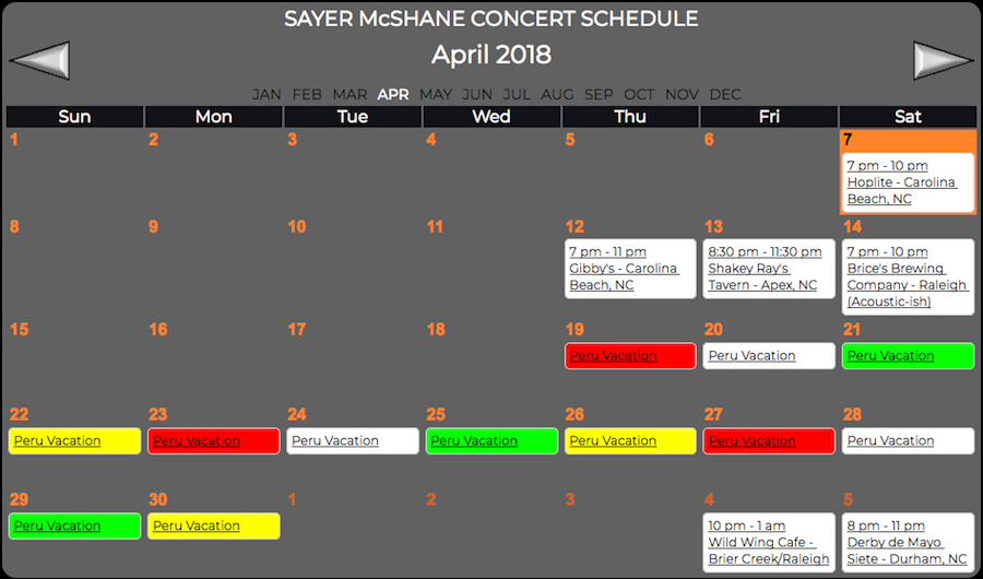 Sayer McShane April Concert Schedule