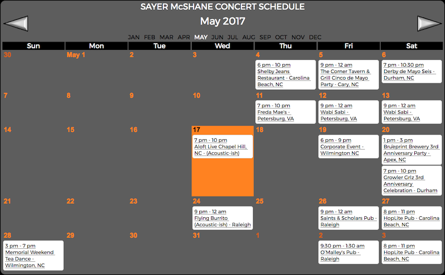 Sayer McShane May Concert Schedule
