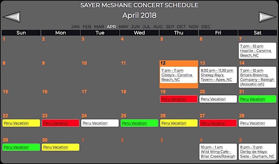 Sayer McShane April Concert Schedule