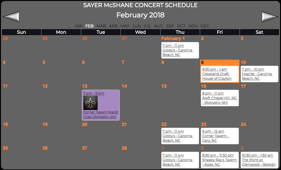 Sayer McShane February Concert Schedule