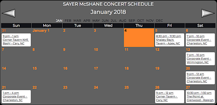 Sayer McShane January Concert Schedule