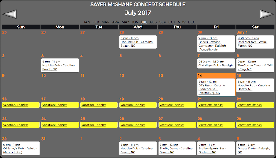 Sayer McShane JulyConcert Schedule