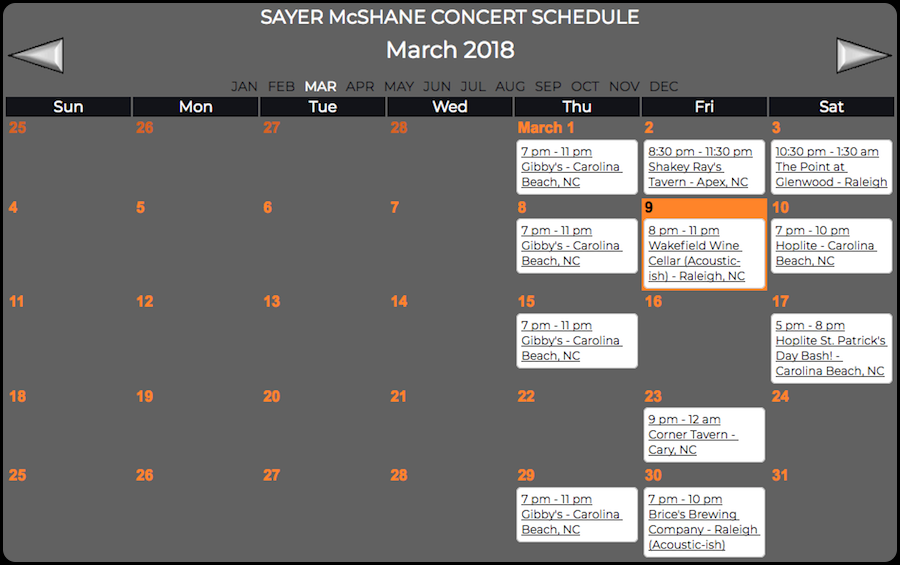 Sayer McShane March Concert Schedule