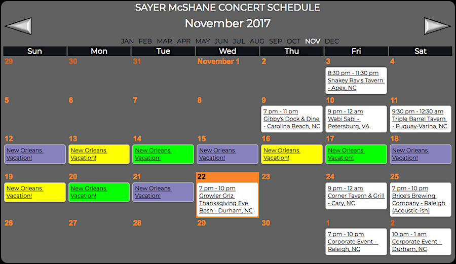 Sayer McShane November Concert Schedule